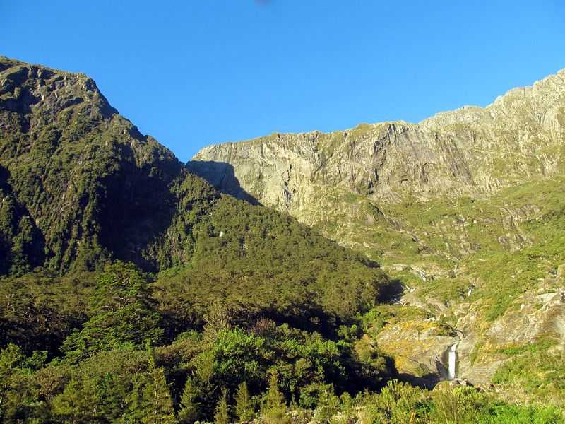 View from our campsite at the head of Sinbad Gully: The route into the Shadowland basin is up the spur on the left.