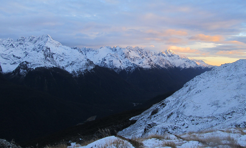 Sunrise above the Hollyford Valley, Mt Madeline in the distance.