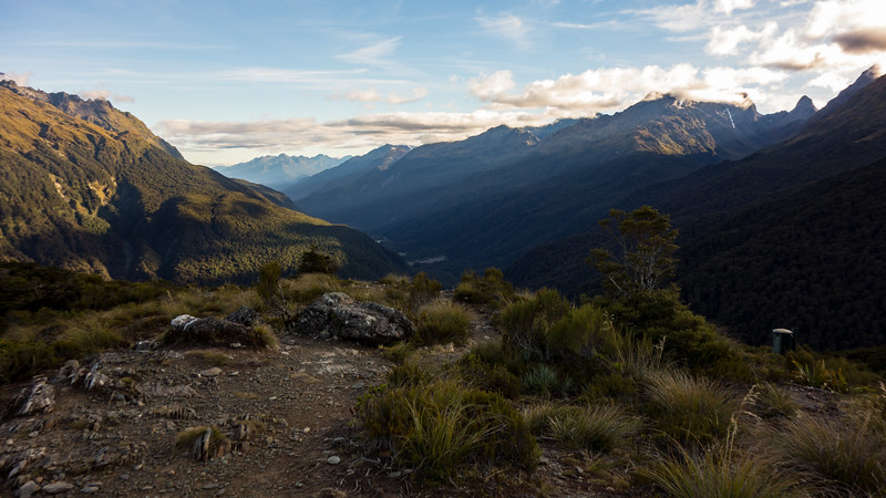 Sunrise above the Hollyford from Key Summit.