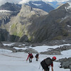 The team descending to Gertrude Saddle.