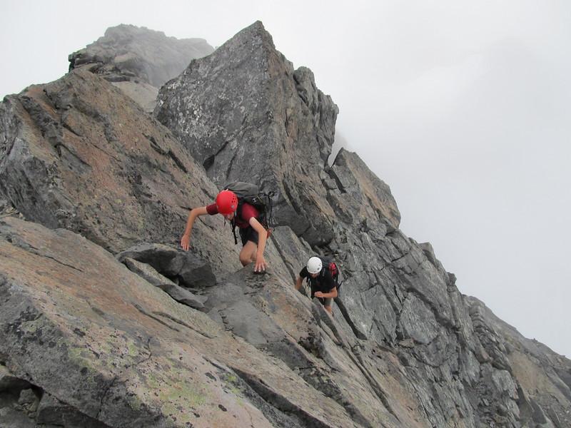 Scrambling up the ridge to Mt Talbot.