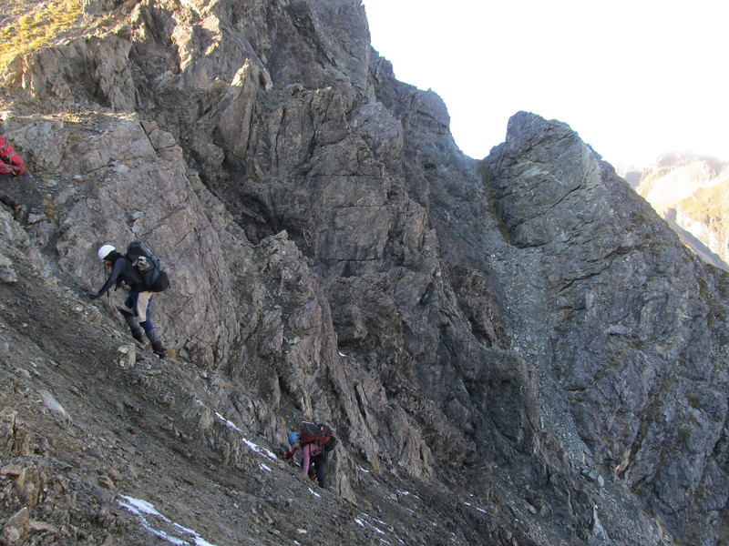Scrambling up to the pass.