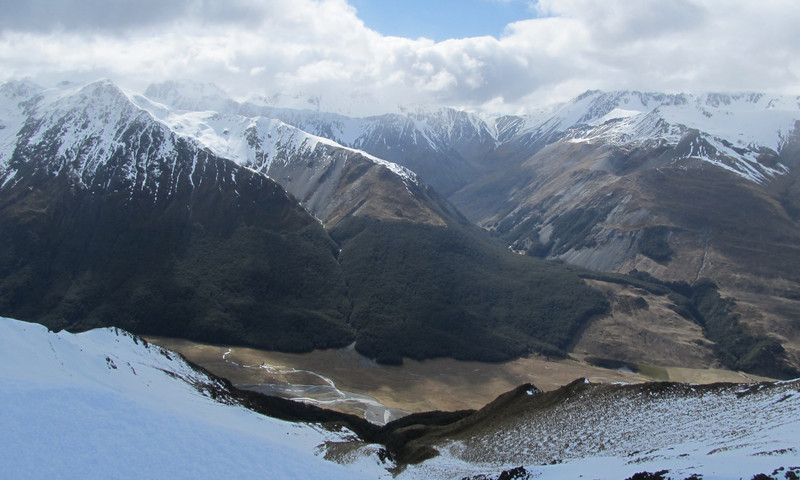 Looking down to the Ahuriri, Watson Creek and its canyon on the right.