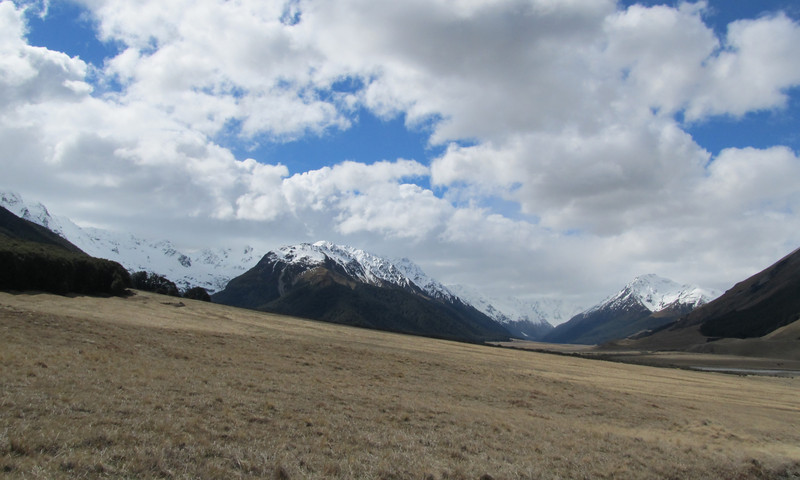 Looking back up the Ahuriri from the car, Canyon Creek is on the left, Pt 1862m in the centre.