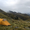 Campsite on the tussock spur below Chloe Col.