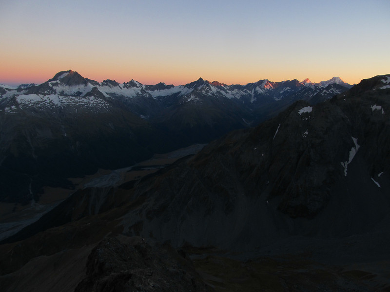 Hopkins Valley at sunrise from the North Ridge of Dasler Pinnacles. From left to right: Ward, Williams, Percy Smith, McKerrow, Black Tower, Hopkins, Sefton, Cook.