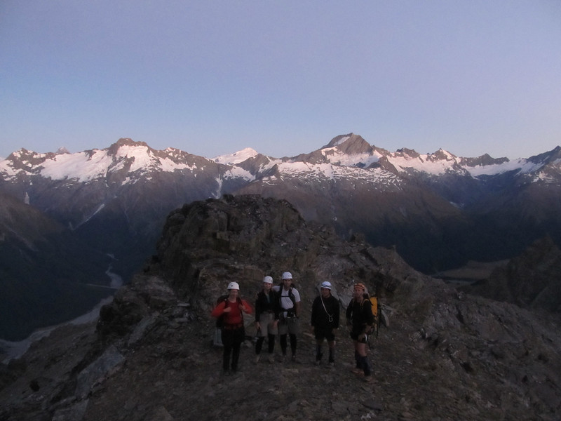 The team at the bottom of the North Ridge of Dasler Pinnacles.