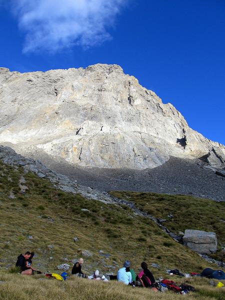Enjoying the campsite below the West Face of Dasler Pinnacles.