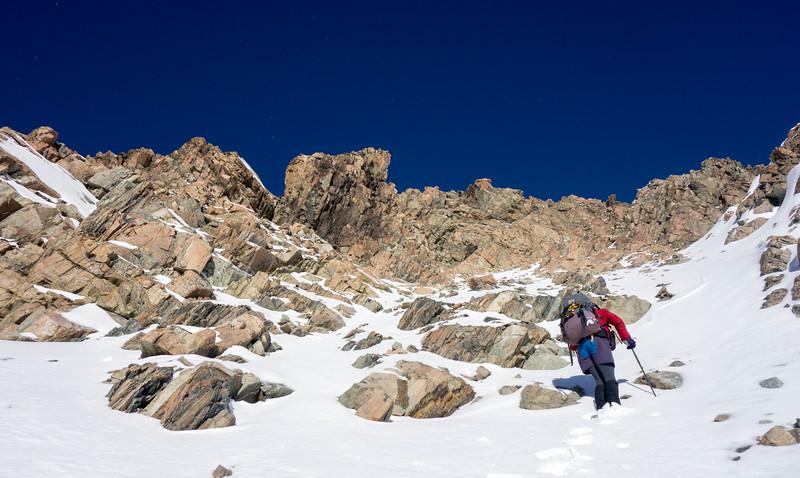 Neil below the summit of Dun Fiunary.