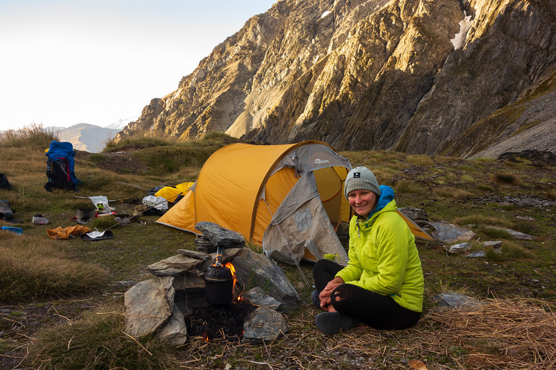 Camp on Brodrick Pass (photo - James Thornton).
