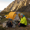 Camp on Brodrick Pass (photo - James Thornton).