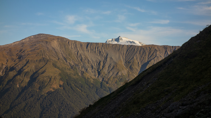 Mt McCullaugh above Mt Solution from Mackenzie Creek (photo - James Thornton).