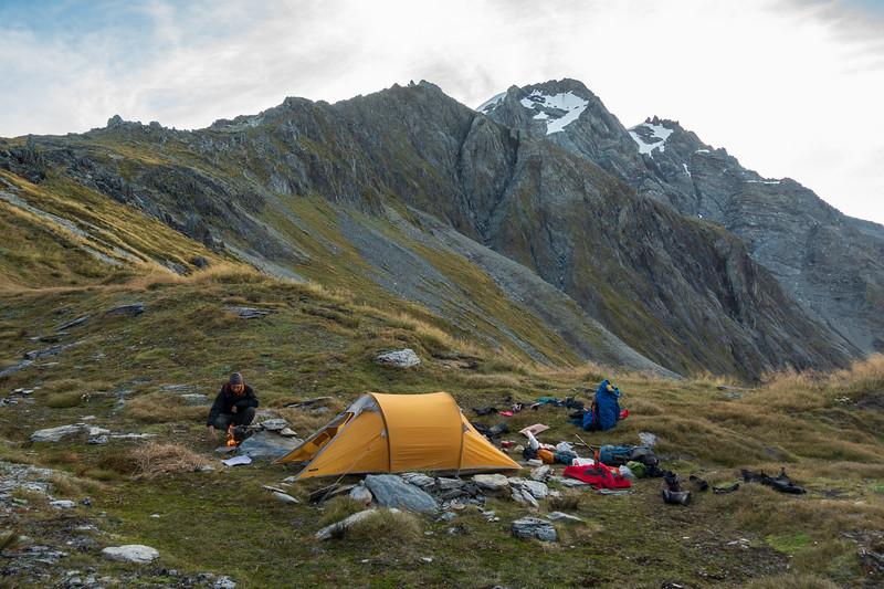 Camp on Brodrick Pass with Mt Strauchon above.