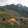 Camp on Brodrick Pass with Mt Strauchon above.