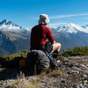 Enjoying the views of Mts Hooker, Dechen and Strachan from the spur on the true left of Mackenzie Creek.