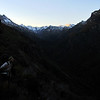 Starting the sidle high above the Douglas River to Horace Walker Hut early morning.