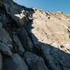 Me abseiling down the slab (photo - James Thornton).