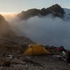 Camp on the Bannock Brae Range looking towards Mt Butzbach.