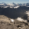 """On the col between the current """"Query"""" and Pt 1991m looking across the Makawhio and the Bare Rocky Range towards Cook and Sefton."""