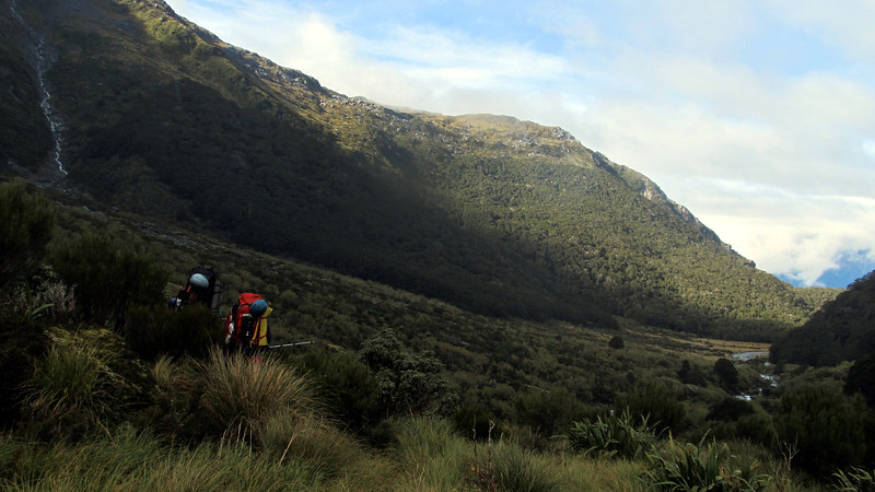 Travelling down Zeilian Creek, note the scrub between us and the flats.