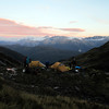 "Our camp in  ""Weary-Monro-Creek"" with the main divide, the Landsborough and Clarke Mound behind (photo - James Thornton)."