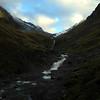"Heading up ""Weary-Monro-Creek"" towards the saddle between Weary Summit and Monro Peak."