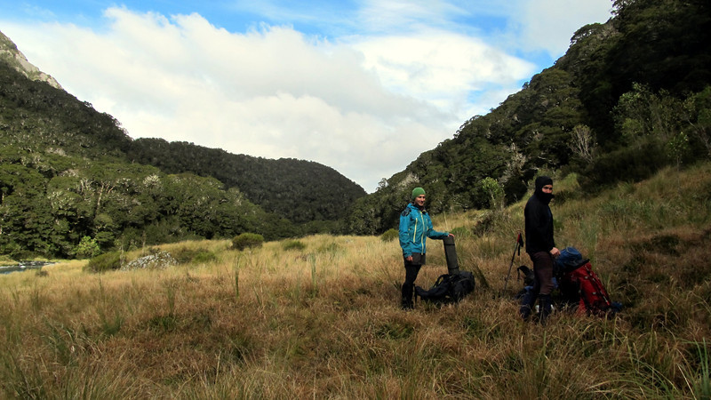 "Simon and Rob ready to bush bash to the ""Weary-Monro- Creek"" from the Zeilian Flats."