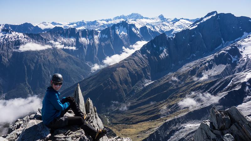 On the summit of Mathers Peak , Mt Strachen on the right, Edison below.