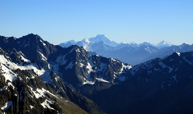 View of Mt Sefton and Cook from the East Ridge. Mt Huxley in the foreground on the left.