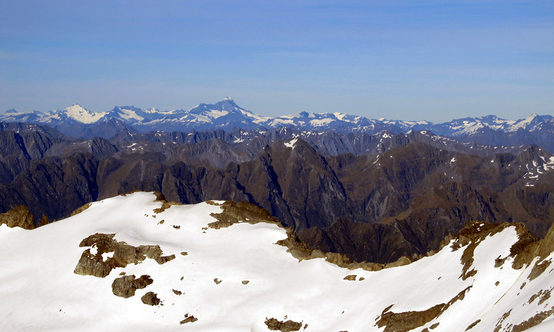 View of the Mt Aspiring peaks from Mt Barth.