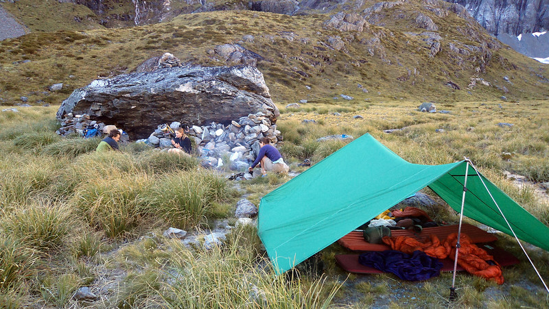 Camp at the head of Canyon Creek (Photo - James Thornton).