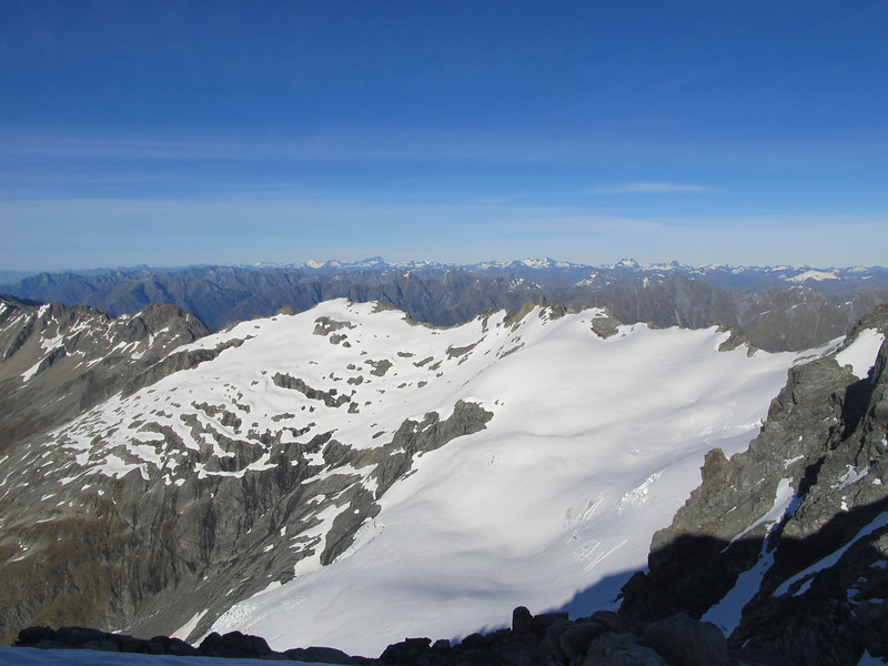 View of the Thurneyson Glacier and the Mt Aspiring peaks.