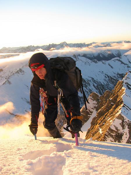 Jono ascending the East Ridge of Brewster.