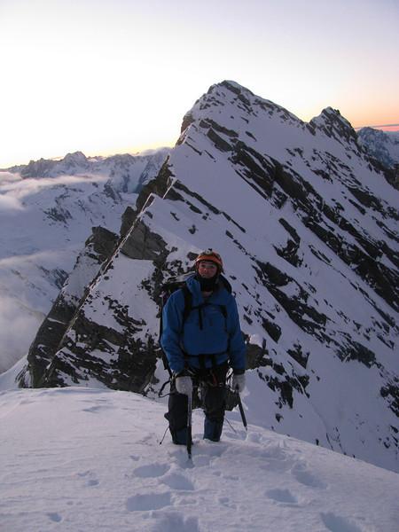 Danilo ascending the East Ridge of Brewster.