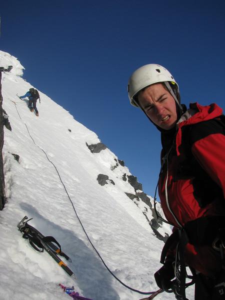 Jaz belaying Danilo, who is climbing up to the West Ridge.