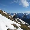 Jono traversing below Mt Armstrong.
