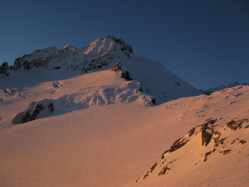Mt Brewster at sunset. South West and South East Faces visible.