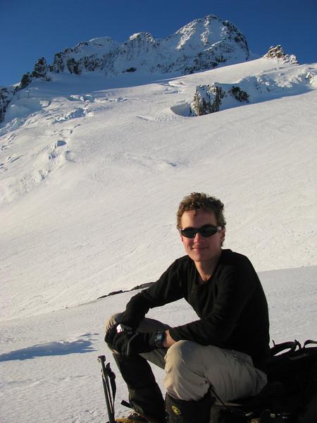 Jaz resting. Mt Brewster and Brewster Glacier in the background.