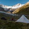 Camp in upper Thomson Stream, Mts Nihokohatu and Williams above (photo - James Thornton).