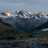 Ominous sunrise the next morning over the Naumann Range peaks.