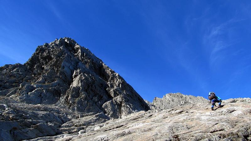 Sidling under the low peak of Enderby.