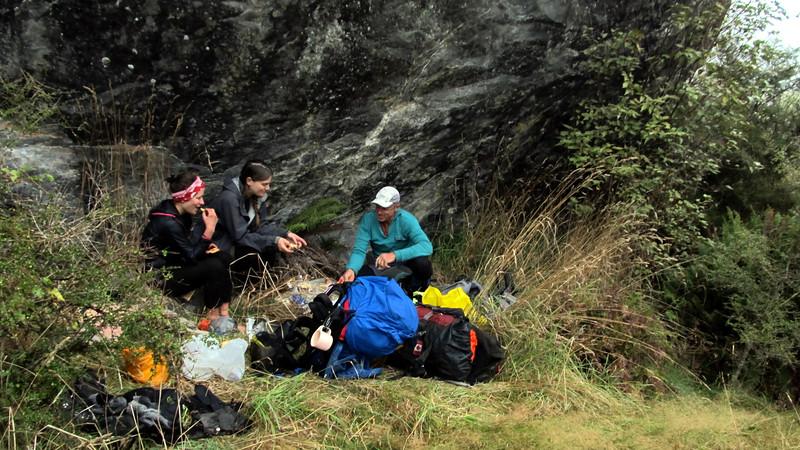 Lunch under the big rock near Wills Hut.