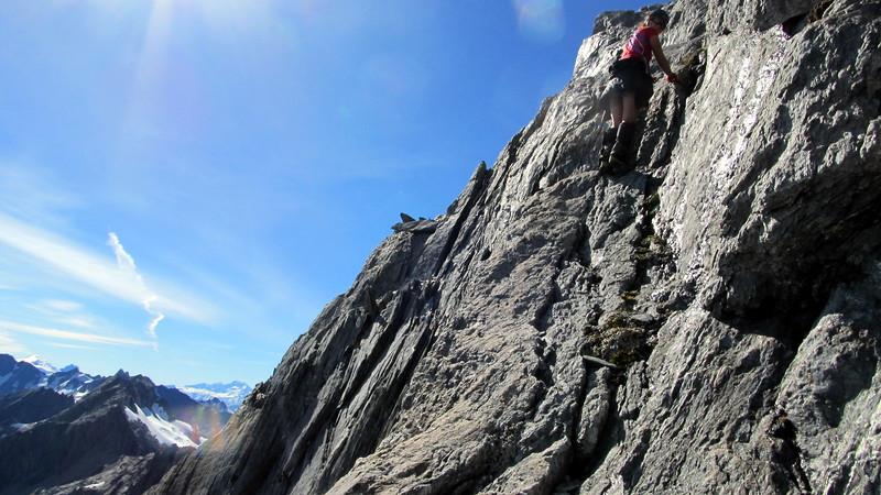 Me enjoying a fun scramble along the ledge to its edge.