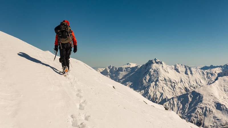 Allan heading for the  summit, Mt Jackson on the right.