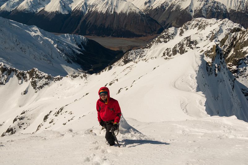 James reaching the summit.