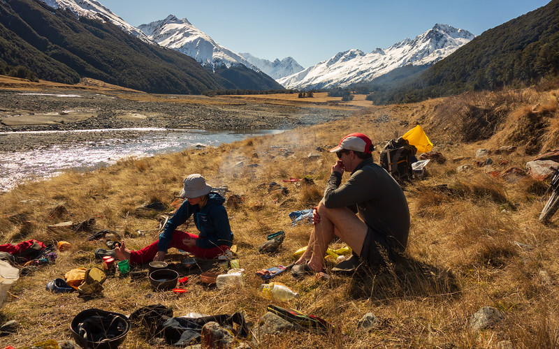 Lunch downstream of the Dodger Fan, Mt Hopkins at the head of the valley, Mt Williams on the left (photo - James Thornton).