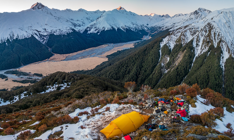 Campsite with a view above on the spur beside Dodger Stream (photo - James Thornton).