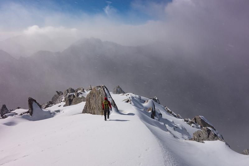 Down the NE ridge.