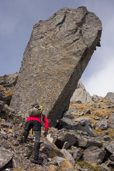 Crazy-angled boulder.