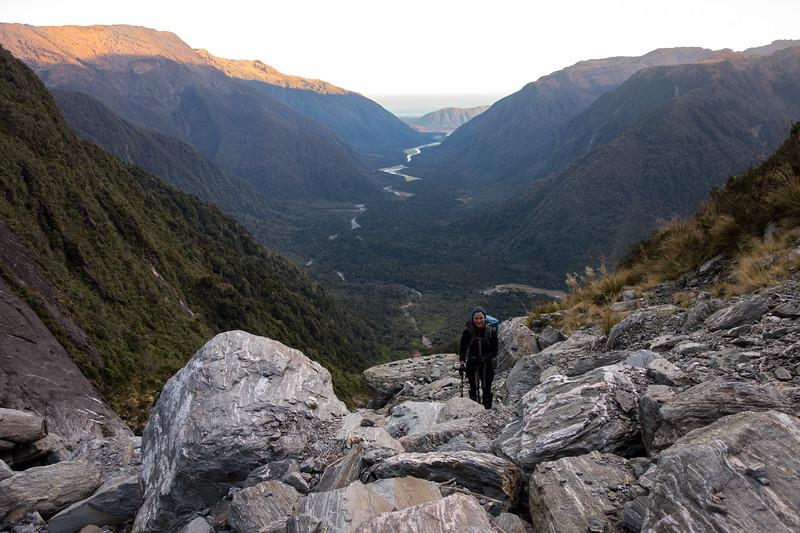Nearing the top of the gully at sunrise - Mahitahi below.